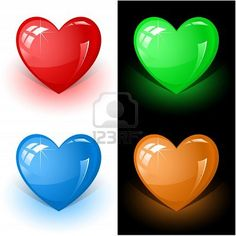 色の心のベクトルの3Dアイコン ストックフォト