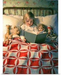 "Old children's book illustration.""Story Time "" by Kathy Lawrence. Reading Art, Kids Reading, Bedtime Reading, Woman Reading, Reading Books, Time Photo, Photo Canvas, Children's Book Illustration, I Love Books"