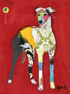 "Greyhound - Mr.Bones III by Michel Keck, 8.5"" w x 11"" h, mixed media collage on canvas"