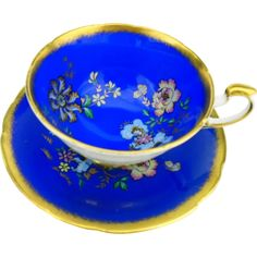 Paragon Royal Blue butterfly tea cup and saucer -- found at www.rubylane.com @rubylanecom #vintagebeginshere #mondayblues