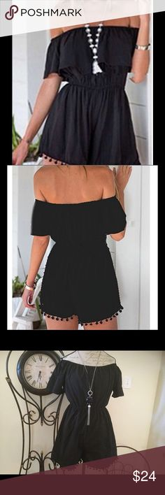 Boho Black RomperNIP Super fun in the sun! ☀️ Whether you are at the beach or BBQ! This is a must- have piece for the summer! Elasticized waist and shoulders! Dress it up with your super chic boho long necklace or choker and sandals! NIP Shorts