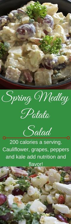 Spring medley Potato Salad is gluten free and full of good nutrients. Fewer carbs and calories than the traditional potato salad http://HomemadeFoodjunkie.com