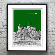 Inverness Scotland Skyline Poster Art Print Version 2