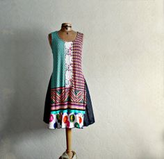 Colorful Boho Dress Upcycled Clothing by BrokenGhostClothing,