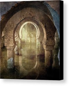 Historic Cistern Caceres Spain Canvas Print by Joan Carroll.  All canvas prints are professionally printed, assembled, and shipped within 3 - 4 business days and delivered ready-to-hang on your wall. Choose from multiple print sizes, border colors, and canvas materials.  #cistern #caceres #spain #water #arches #underground   Visit joan-carroll.pixels.com for more #art #photography #fashion and #homedecor items from #Spain and around the world! @joancarroll +JoanCarroll