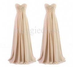 Long Champagne Sweetheart Empire Waist A Line Chiffon Party Grown Floor Length Custom Made Bridesmaid Dresses,Prom Dresses,Party Dresses $108.00