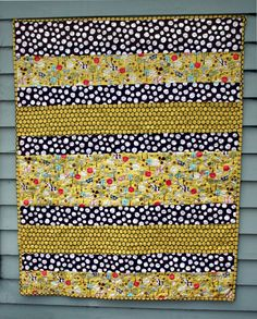 Modern Baby Quilt, boy or girl with giraffes and spots