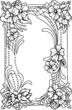 Sue Wilson Designs Flower Frame Coloring pages colouring adult detailed advanced printable Kleuren voor volwassenen