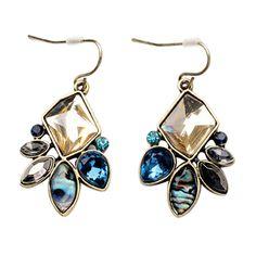 Bluelans Women's Fashion Multicolor Irregular Geometric Flower Drop Hook Earrings Jewelry