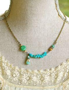 Samantha.turquoise beaded rhinestone bohemian by tiedupmemories
