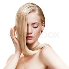 Beautiful Blonde Girl Healthy Long Hair stock photo on Colourbox