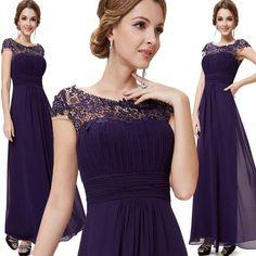 2016 Neu Lang Abendkleid Ballkleid Brautjungfernkleid Kleid Chiffon Spitze BC285