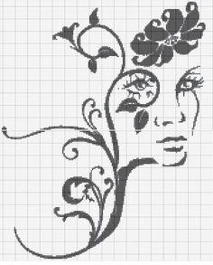point de croix portrait femme fleur - cross stitch portrait girl flower