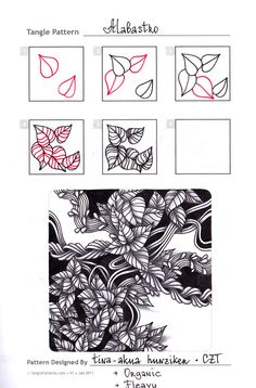 Alabastro by Tina-akua Hunziker CZT Zentangle Drawings, Doodles Zentangles, Doodle Drawings, Doodle Art, Zen Doodle, Doodle Patterns, Zentangle Patterns, Mandala Pattern, Doodle Borders