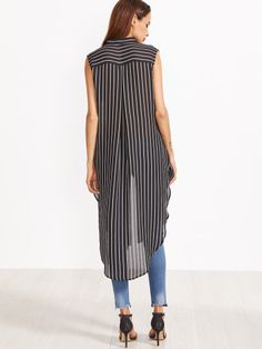 Black And White Striped Curved Hem Longline Sleeveless Blouse Sleeveless Blouse Outfit, Long Shirt Dress, Blouse And Skirt, Look Fashion, Fashion Outfits, Trench Dress, Donia, Urban Fashion Women, Looks Plus Size