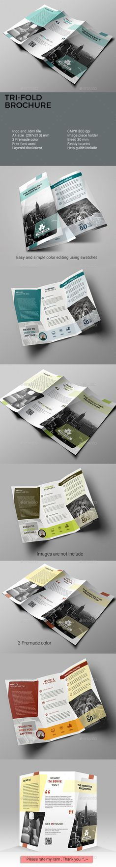 Trifold Brochure - Corporate #Business #Cards Download here: https://graphicriver.net/item/trifold-brochure/19570757?ref=alena994