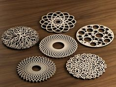 Five Ply Design Wood Coasters Dinner Party Series – Seattle Thread Company Laser Cutter Ideas, Laser Cutter Projects, Cnc Projects, Woodworking Projects, Woodworking Shop, Graveuse Laser, Laser Cut Wood, Laser Cutting, Wood Crafts