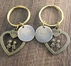 Couples keychains, personalized keychains for couples, hand stamped keychains for couples Big spoon little spoon keychain gift for boyfriend Big Spoon Little Spoon, Love Spoons, Couple Bracelets, Couple Gifts, Boyfriend Gifts, Keychains, Hand Stamped, Personalized Items, Couples