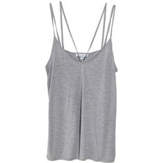 Cami NYC Aria Double Strap Tank in Grey ($88) ❤ liked on Polyvore featuring tops, shirts, tank tops, tanks, grey shirt, spaghetti strap top, gray tank top, grey top and strappy tank top