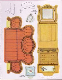 TONS of printable furniture and houses! Paper Furniture, Doll Furniture, Dollhouse Furniture, Paper Doll House, Paper Houses, Diy Dollhouse, Dollhouse Miniatures, Paper Art, Paper Crafts