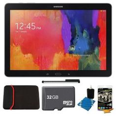 Samsung Galaxy Note Pro 12.2″ SM-P9000ZKVXAR Black 32GB Tablet, 32GB Card, Headphones, and Case Bundle – Includes tablet, 32GB microSD memory card, 13″ tablet sleeve, audio earbuds, universal touch screen stylus pen, and cleaning kit