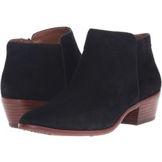 Sam Edelman Petty (Black Suede) Women's Shoes ($140) ❤ liked on Polyvore featuring shoes, boots, ankle booties, mid-calf boots, black platform booties, black suede booties, suede booties, faux suede booties and black mid calf boots