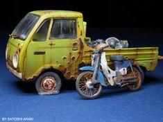 The Amazing Miniature World of Satoshi Araki Chevrolet Bel Air, Plastic Model Kits, Plastic Models, Weather Models, Victorian Toys, Hobby Cars, Truck Scales, Honda Cub, Miniature Cars