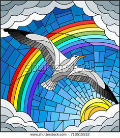 Illustration in stained glass style with a Seagull on the background of sky, sun , clouds and rainbow