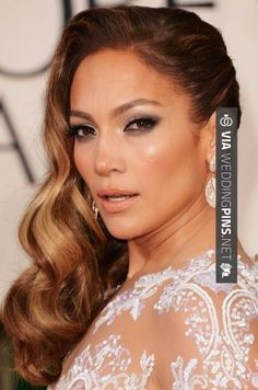 Like this - Side Swept Wedding Hair curls swept to side wedding hairstyles | Jennifer Lopez
