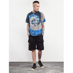 Male Tie-dyed Letter Spiral Pattern Cotton Short Sleeve T-shirt