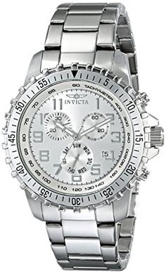 Invicta Men's 6620 II Collection Chronograph Stainless Steel Silver Dial Watch - Water resistant to 330 feet M) Suitable for snorkeling, as well as swimming, but not diving - Dunway Enterprises 25 Wedding Anniversary Gifts, Anniversary Gifts For Husband, 25 Anniversary, Mens Watches Under 100, Watches For Men, Men's Watches, Female Watches, Wrist Watches, Amazing Watches