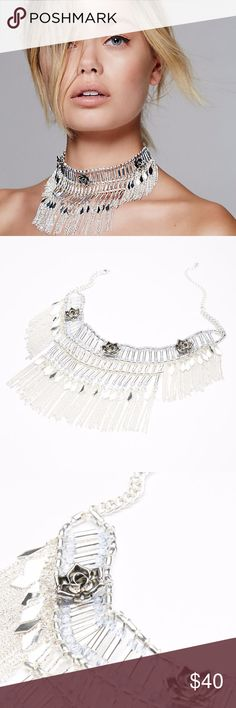 """Free People Ocean Floor Choker OS Sliver DESCRIPTION Tribal-inspired metal choker dangling with statement fringe or shell accents and featuring stone accents. Adjustable lobster clasp closure.  Metal Imported  Product measurements Silver: 14.0"""" = 35.56 cm Gold: 15.0"""" = 38.1 cm Free People Jewelry Necklaces"""