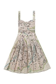 Paper dress made from vintage printed maps