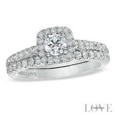 2e7e5f3751ec2 Vera Wang LOVE Collection 1 CT. T.W. Diamond Frame Bridal Set in 14K White  Gold
