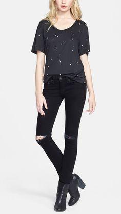 Fall style: rag & bone Paint splatter tee  & ripped jeans.