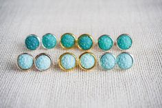 Mint Green or Teal Druzy Earrings in Gold, Silver or Rose Gold, Faux Druzy Stud Wedding Gift Boho Jewelry, Sparkly Earrings Etsy Jewelry, Boho Jewelry, Jewelry Stores, Jewellery, Handmade Design, Handmade Items, Or Rose, Rose Gold, Gold Anklet