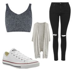 """Untitled #95"" by kamila-mollin ❤ liked on Polyvore featuring Converse, J.O.A. and Topshop"