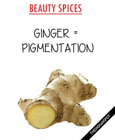 GINGER FOR PIGMENTATION Ginger can aid in skin rejuvenation and it improves the skin color and texture. Ginger paste can be applied on the skin as a face mask to reduce acne, pigmentation and blemishes. It not only prevents and heal acne but also evens out skin tone! Ginger, lemon, sugar (take a generous amount …