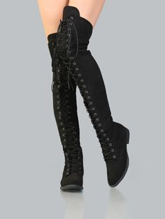 Online shopping for Lace Up Faux Suede Thigh High Boots BLACK from a great selection of women's fashion clothing & more at MakeMeChic.COM.
