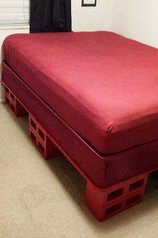 Cinder Block Bed Frame / Storage Bed : 10 Steps (with Pictures) - Instructables Diy Bedframe With Storage, Wooden Bed With Storage, Bed Frame With Storage, Bed Storage, Wood Canopy Bed, Canopy Bed Frame, Diy Bed Frame, Custom Bed Frame, Wooden Pallet Furniture
