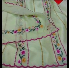 Embroidery Suits Punjabi, Embroidery On Kurtis, Embroidery Leaf, Kurti Embroidery Design, Flower Embroidery Designs, Embroidery Fashion, Embroidery Dress, Designer Punjabi Suits Patiala, Punjabi Suits Designer Boutique