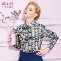 ELF SACK fashion brand new arrival 2015 spring women print bow shirt blouse lapel collar buttons long sleeves free shipping