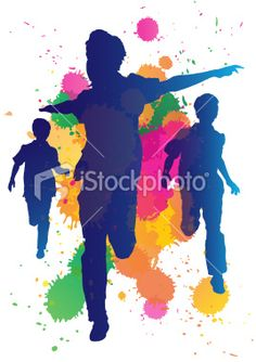 Young boys running against a paint splatter background Royalty Free Stock Vector Art Illustration