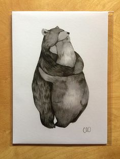 Now lets see your best bear hug. Originally painted using india ink. Printed on 5 x 7 archival quality paper with archival inks. Each print