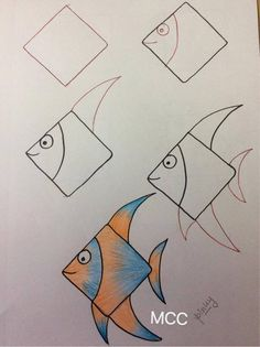 drawing tutorials for beginners - Drawing TutorialAmazing easy drawing ideas archive! drawing tutorials for beginners - Drawing Tutorial Drawing Lessons For Kids, Art Drawings For Kids, Fish Drawings, Pencil Art Drawings, Doodle Drawings, Cute Drawings, Animal Drawings, Doodle Art, Art For Kids