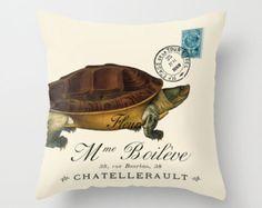 Throw Pillow Cover - Turtle on Vintage French Ephemera - 16x16, 18x18, 20x20 - Pillow case Original Design Home Décor by Adidit