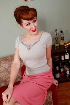 Vintage+1950s+Sweater++Pale+Blue+Beaded+Scoop+Neck+by+FabGabs,+$52.00