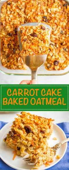Carrot cake baked oatmeal is naturally sweetened and loaded with walnuts and raisins for a healthy make-ahead breakfast! | http://www.familyfoodonthetable.com