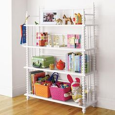 Kids' Bookcases: Kids White Jenny Lind Spindle Bookcase in Bookcases