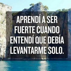 "Translation: I learned to be strong when I understood I had to get up alone. ""Aprendí a ser fuerte cuando entendí que debía levantarme solo."""